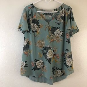 Tempted Hearts Floral print short sleeves blouse
